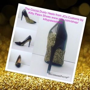 Women's Custom Brown w/Gold Glitter High Heels